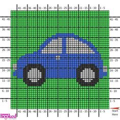 """Our square of the Big Boy Blanket is an awesome, blue car. and I don't know about your kids, but mine LOVE to play the """"slug bug"""" game! Have fun with this block and don't forget Graph Crochet, Crochet Car, Crochet For Boys, Baby Blanket Crochet, Knitting Charts, Baby Knitting Patterns, C2c, Car Blanket, Baby Overall"""