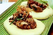 Good Food Under $30 The Balmain Hotel. Steamed buns with duck and pork.Photo: Edwina Pickles. 16th May 2013.