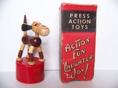 Vintage Kohner #150 Barking Dog Wood Push Puppet  WITH BOX Action Toys, Wooden Pegs, Vintage Toys, Puppets, Push Up, Collections, Antique, Dolls, Button