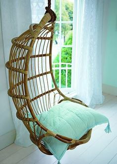 Hanging Rattan Chair- I really want a hanging chair in my room Hanging Swing Chair, Swinging Chair, Hanging Chairs, Wicker Swing, Rattan Chairs, Lounge Chairs, Rocking Chair, My New Room, My Room