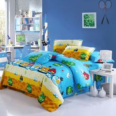 Blue and Yellow Angry Birds Duvet Cover Bedding Sets