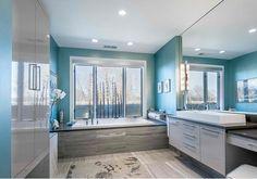 salle de bains design turquoise contemporaine