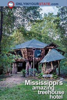This fairytale cabin in the trees is perfect for a romantic vacation or your next glamping adventure. | Travel | Mississippi | Treehouse | Hotel | Unique | Accommodations | Scenic | Anniversary Gulfport Mississippi, Oxford Mississippi, Jackson Mississippi, Columbus Mississippi, Oh The Places You'll Go, Places To Travel, Travel Stuff, New Orleans, Treehouse Hotel