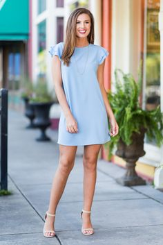 """""""Passion For Pretty Dress, Baby Blue""""We know you have such a strong passion for pretty things! So, we know you are going to love this dress with it's fluttering sleeves! Blue Dress Outfits, Baby Blue Dresses, Spring Dresses Casual, Mom Outfits, I Dress, Pretty Dresses, Short Dresses, Cute Outfits, Fashion Outfits"""