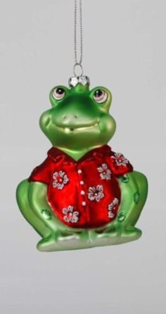 "sterling inc glass ornament frog 4"" red Hawaiian shirt  70651039"