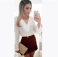 2015 elegante blusa branca de manga longa ruffles chiffon blusa camisa casual estilo da camisa de verão blusa feminina roupas baratas da china