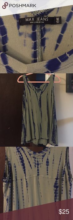 Max Jeans sleeveless top Beautiful olive & navy tie dye sleeveless top by Max Jeans.  I'm only selling this because it's slightly shorter than I would like, would be perfect for someone more petite.  I'm 5'4  Max Jeans Tops