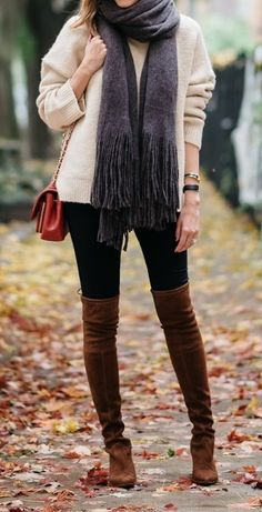 #fall #outfit #ideas ·  Scarf // Legging Jeans // Turtleneck Sweater // Black Booties // Otk Boots