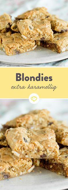 Das Gegenstück von Brownies: Blondies. Die schnellen Schnitten sind extra saftig, extra lecker und extra schnell - in 30 Minuten gebacken.