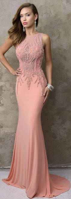Alluring Chiffon Jewel Neckline Mermaid Evening Dresses With Beadings