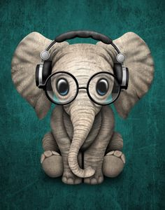 Cute Baby Elephant Dj Wearing Headphones and Glasses on Blue Canvas Print by…