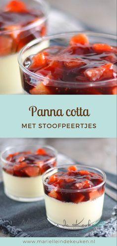 Panna Cotta with Stewed Pears Winter Desserts, Mini Desserts, Cupcake Recipes, Snack Recipes, Dessert Recipes, Snacks, Panna Cotta, Mexican Pudding, Mousse Dessert