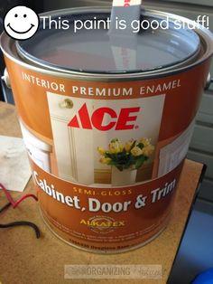Ace's Cabinet, Door, and Trim paint -- great stuff :: OrganizingMadeFun.com