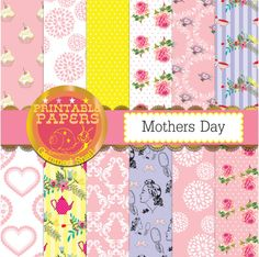 Mothers Day digital paper, 12 papers, floral pink, yellow, lilac for Mothers Day. Instant download.