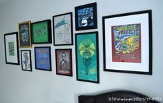 Hometalk :: T-Shirt Gallery Wall for a Boy's Bedroom out of old Tshirts he loved but couldn't wear anymore!