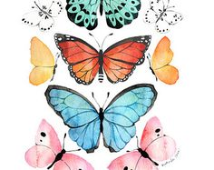 Butterfly Watercolor - Art - Painting _ Print - 8x10