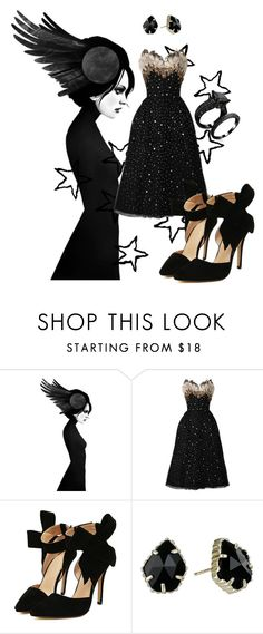 """""""Black Swan"""" by katthecatlady ❤ liked on Polyvore featuring Kendra Scott, black, formal and allblack"""