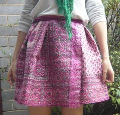 STYLE WILDERNESS: no-sew skirt - use safety pins to gather pleats, wrap around waist, then fold over