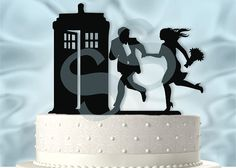 Top your Wedding Cake with this Cute Couple running to the Tardis topper. Topper…