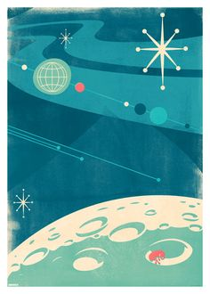 Outer Space by Slumber Mid century poster (would be good to frame and use to decorate) Space Illustration, Illustrations, Design Graphique, Art Graphique, 4 Wallpaper, Vintage Space, Mid Century Art, Retro Art, Grafik Design