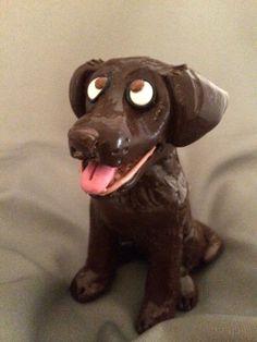 Chocolate lab / labrador retriever dog figurine