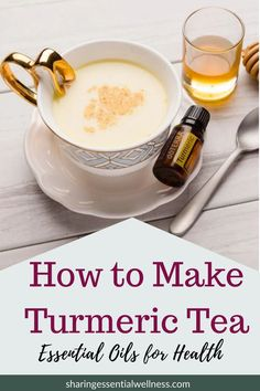 Get all the benefits of turmeric with this healthy, tasty golden milk turmeric tea recipe. It's infused with turmeric essential oil, as well as healthy fats, so that your body can absorb all the essential oil benefits.  Your whole family will love this tea!  #turmeric #winterwellness #healthysnacks #healthyrecipes #essentialoilrecipes #essentialoilrecipes #goldenmilk #immunityboost #doterra