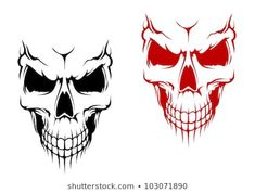 Smiling skull in black and red versions for t-shirt or halloween design. Jpeg version also available in gallery - stock vector Black Ink Tattoos, Skull Tattoos, Body Art Tattoos, Tattoo Art, Goblin Art, Drawing Cartoon Faces, Skull Stencil, Skull Pictures, Skull Illustration
