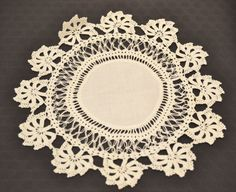 Antique hand woven lace edged linen doily - fine lace edging - open work - linen cloth with cotton lace handwoven edging by KehingiVintage on Etsy