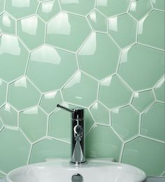 Continuous bubble effect bathroom tiles.