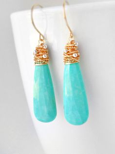 Long turquoise and gold wire wrapped dangle earrings - Kristina Henning Jewelry