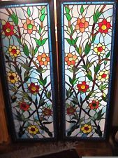 """Pr Fabulous Matching Stained Leaded Glass Floral Windows Framed 49.25 x 18.25"""""""