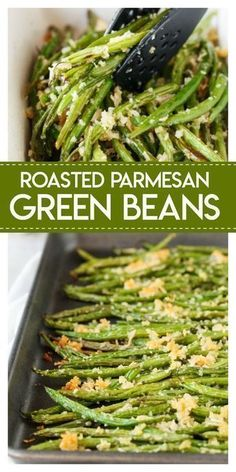 Roasted Parmesan Green Beans- delicious fresh green beans are roasted with a crunchy mixture of parmesan cheese and panko bread crumbs. They make the perfect side dish for any meal. Veggie Dishes, Food Dishes, Christmas Vegetable Dishes, Vegetarian Side Dishes, Healthy Vegetable Side Dishes, Healthy Dinner Sides, Sides For Dinner, Christmas Dishes, Vegetarian Recipes Green Beans