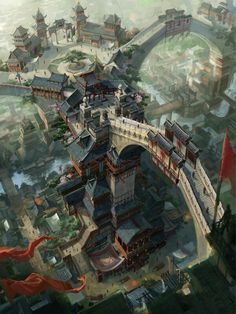 dragon_city by_c_h_e_n_k_a_i. Asian fantasy art, digital illustrations and character studies. Fantasy Artwork, Fantasy Art, Animation Art, Fantasy Landscape, Environment Design, Fantasy City, Dragon City, Environmental Art, Scenery