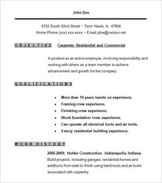 Sample Carpenter Resume Stunning Cv Template 6  Cv Template  Pinterest  Sample Resume Free .