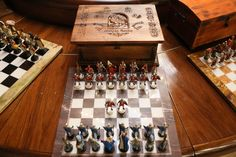 Handmade Tin Chess Set Hungarian - hand painted, detailed tinsel pewter chess sets. They have an elegant look. They make the period of king Matias kiraly. The tin pieces have an amazing heavy feel and inspiring presence.