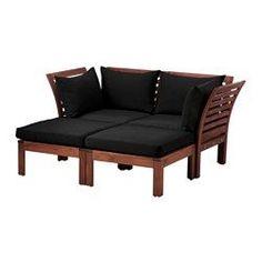ÄPPLARÖ / HÅLLÖ, Loveseat with 2 footstools, outdoor, brown stained, black