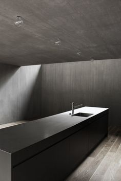 House River Reuss by Dolmus Architects - Photo © Aynur Turunc | Concrete kitchen | Black, Grey & Dark | Natural style | Minimal Living Style | Modern Minimalist Interiors | Contemporary Decor Design #inspiration #nakedstyle