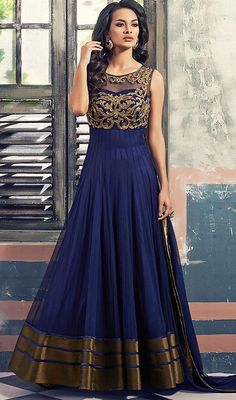 Blue Color Embroidered Georgette and Net Long Anarkali Suit