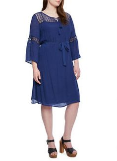 Plus Size Belted Dress with Lace Trim and Batwing Sleeves - 1390056129264