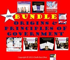 """This product includes everything you need to teach a 10-day unit on The Origins and Principles of American Government for your secondary civics/U.S. Government class. Purchase in BUNDLE and you will automatically save 20% off of each product! A pacing guide and detailed lesson plans are included! """"Work smarter not harder!"""""""