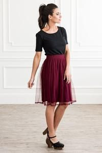 """Stunning Skirt perfect for the Holiday Season. Create the perfect Ballerina Look with this gem. Label: Mikarose Color: Burgundy or Black Polka Dot Fabric: Polyester Fit: Missy Length: 23 """" or 60 cm Long Skirt Top Designs, Long Skirt And Top, Tulle Material, Casual Outfits, Cute Outfits, Godly Woman, Dance Outfits, Ladies Dress Design, Skirt Fashion"""