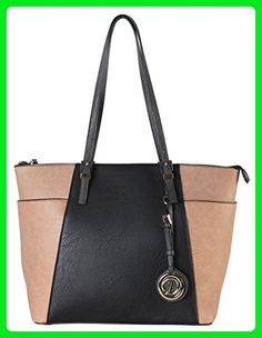 d097092e1fd0 Diophy Faux Leather Two-Tone Top Zipper Tote Bag Black