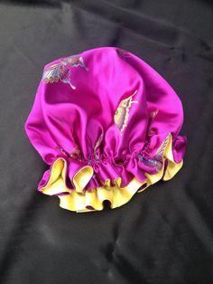 Reversible satin brocade sleep cap/bonnet fully by DressyTresses