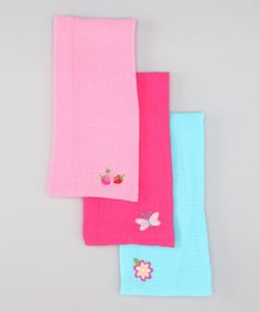 Pink Muslin Burp Pad Set by green sprouts on #zulily