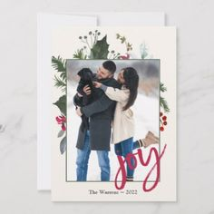 Shop Modern Vintage Holly Berries Christmas Photo Card created by weddingdaycards. Family Christmas Cards, Holiday Photo Cards, Holiday Photos, Christmas Pictures, Christmas Greetings, Christmas Stuff, Holly Berries, Card Sizes, Modern