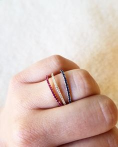 Celebrating #LaborDay Weekend with my red white and blue Baby #Pave Band Rings. #pavediamonds #ruby #diamonds #bluesaphire #stackablerings #grazielagems