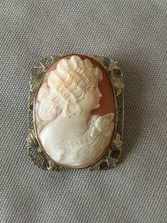 Vintage-Shell-Cameo-Pin-Pendant-14K-White-Gold