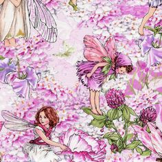 Pink Petal Flowers Fairies  - Michael Miller - 1 yard - More Available by BywaterFabric on Etsy