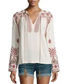 Luna Long-Sleeve Embroidered Top, Beige