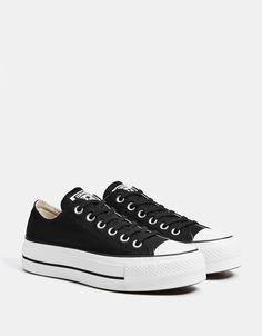 CONVERSE CHUCK TAYLOR ALL STAR platform sneakers - Bershka  fashion   product  converse  allstar  sneakers  trainers  black  canvas  zapatillas   lona  negras ... 1b9193dc462e2
